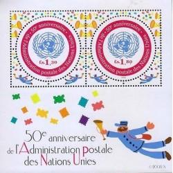 G)2001 UN, UN FLAG-TROMPET.MAILMAN, 50TH ANNIV. OF UN'S POSTAL ADMINISTRATION, S