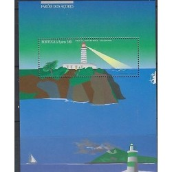 O) 1996 PORTUGAL, LIGHTHOUSE, TREE, PAINTING, SOUVENIR MNH