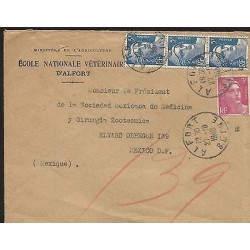 E)1948 FRANCE, MARIANNE DE GANDON, CIRCULATED COVER TO MEXICO