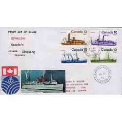 G)1975 CANADA, SHIPS, INLAND SHIPPING VESSELS, HANDMADE FDC, XF