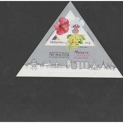 O) 2013 MALAYSIA, TRIANGLE, FLOWERS, PAMERAN SETEM KE-3, MNH