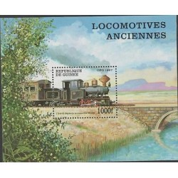 O) 1997 GUINEA, TRAIN, BRIDGE, SOUVENIR MNH