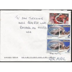 E)2000 MALTA, AIR MAIL, CRUISE AND BOATS, CIRCULATED COVER TO USA, XF