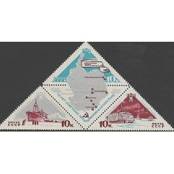 O) 1966 RUSSIA, PINGUIN, CAR, BOAT,MAP, EXPEDITION IN ANTARCTICA. TRIANGLE, MN