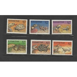 O) 1994 KAZAKHSTAN, REPTILES, LIZARD, SNAKE, SET FOR 6 MNH