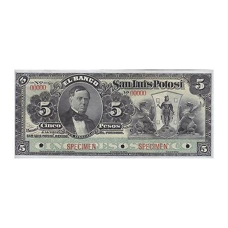 G) MEXICO, SAN LUIS POTOSI PROVISIONAL 5 PESOS, BANKNOTE, NEW UNC, NICE CONDItIO