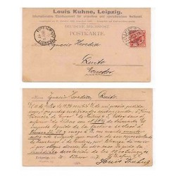 E) 1894 GERMANY, LEIPZIG POST CARD, REICHPOST TO ECUADOR, XF