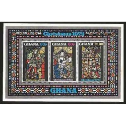 E)1972 GHANA, VITRAL, CHRISTMAS, PAINTINGS, RELIGION, BLOCK OF 3, MNH