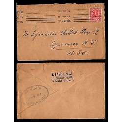 E)1913 GREAT BRITAIN, POSTAGE REVENUE, FANCY CANCE,. CIRCULATED COVER TO USA, XF