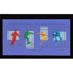 E)1991 FINLAND, ICE SPORTS, SKI, SKIER, BLOCK OF 4, MNH
