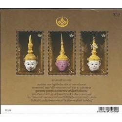 E) 2013 THAILAND, THAI HERITAGE CONSERVATION, KHON MASK, SOUVENIR SHEET, MNH