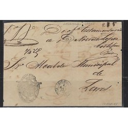 O) 1865 PUERTO RICO, FRONT LETTER, PRESTAMP, AGUADILLA TO LARES, XF