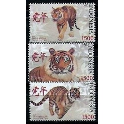 rO)2010 INDONESIA,TIGERS,SET FOR 3,MNH