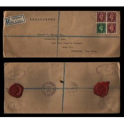 E)1940 GREAT BRITAIN, KING GEORGE VI, STRIP OF 4, WAX SEALS ON THE BACK