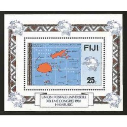 E)1984 FIJI, UNIVERSAL POSTAL UNION, EME XIX CONGRESS OF HAMBURG, MAP, S/S, MNH