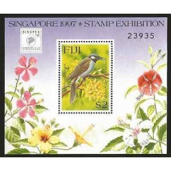 E)1997 FIJI, SINGPEX, SINGAPORE STAMP EXHIBITION, FLOWERS, BIRD, S/S, MNH