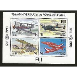 E)1993 FIJI, 75TH ANNIVERSARY OF THE ROYAL AIR FORCE, AIRPLANES, AVIATION, BLOCK