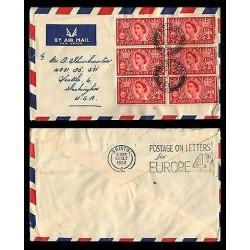 E)1953 GREAT BRITAIN, QUEEN ELIZABETH II, STRIP OF 6 RED, FANCY CANCE,