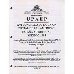 RG)1995 MEXICO, UPAEP XVI CONGRESS, MEXICO 1995, AMEXFIL SPECIAL SUPPLEMENT No.
