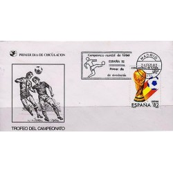 G)1982 SPAIN, WORLD CUP SPAIN 1982, SOCCER PLAYERS-BALL-TROPHY-SPAIN FLAG, FDC