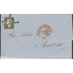 o) 1840 SPAIN, ISABEL, 1ST ISSUE CIRCULATED COVER FROM MALAGA TO MADRID, WITH AR