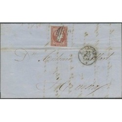 O) 1855 SPAIN, 4 CUARTOS QUEEN ISABEL II, CIRCULATED COVER FROM ZARAGOZA TO HUES