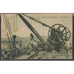 O) 1925 ITALY, BOAT 1915, MARINA DI CARRARA, LOADER BRIDGE, POSTAL CARD F