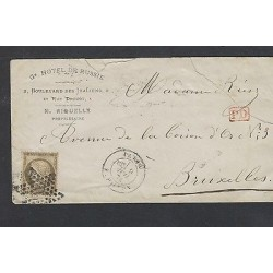 o) 1874 FRANCE, COMMERCIAL COVER HOTEL DE RUSSIE, TO BRUXELLES, THORN ON THE RIG
