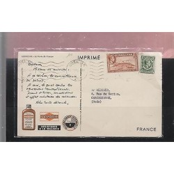 O) 1952 GIBRALTAR, POSTAL CARD, PHARMACY, BOAT, XF TO FRANCE