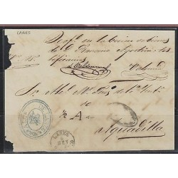 O) 1865 PUERTO RICO, FRONT LETTER, FROM LARES TO AGUADILLA, XF