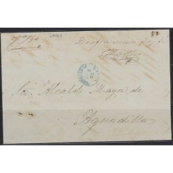 O) 1865 PUERTO RICO, PRESTAMP, FROM LARES, ADDRESSEE ALCALDE MAYOR DE AGUADILL
