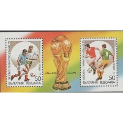 O) 1990 BULGARIA, ITALY SOCCER WORLD CUP 1990, FOOTBALL, TROPHY, SOUVENIR MNH