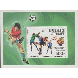 O) 1982 IVORY COAST, WORLD CUP SOCCER, FOOTBALL, SOUVENIR MNH