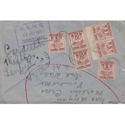 G)1939 CANAL ZONE, POSTAGE DUE MULTIPLE, P.S.N.C. CRISTOBAL VIOLET BOX, XF