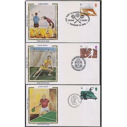 G)1977 GREAT BRITAIN, SQUASH-BADMINTON-PING PONG MATCHES, RACKET SPORTS SET OF 3