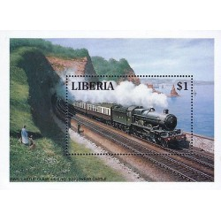 G)1994 LIBERIA, STEAM LOCOMOTIVE-RAILWAY-TRAIN-TRANSPORT-SEA-MOUNTAIN, MAN, WOMA