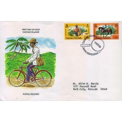 G)1980 CAYMAN ISLANDS, BICYCLE-HORSE, CYCLIST-WALKIG-MOUNTED MAIL CARRIER, FDC U