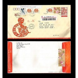 E)2013 CHINA, SNAKE-RABBIT, BIRDS-FLOWERS, POSTAGE PAID, CIRCULATED REGISTERED