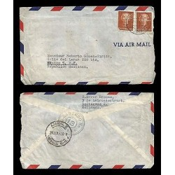 E)1953 NETHERLANDS, QUEEN JULIANA,312 A76, PAIR OF 2, AIR MAIL, CIRCULATED COVE
