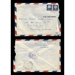 E)1954 NETHERLANDS, QUEEN JULIANA, 348 A82, STRIP OF 2, AIR MAIL, CIRCULATED COV