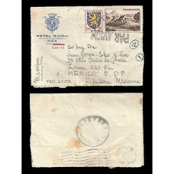 E)1951 FRANCE, LION EMBLEM, LANDSCAPE, HOTEL RIVOLI, AIR MAIL, CIRCULATED COVER