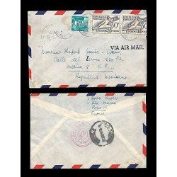 E)1954 FRANCE, FENCING, STRIP OF 2, AIR MAIL, CIRCULATED COVER TO MEXICO D.F, RA