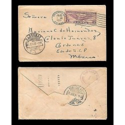 E)1930 UNITED STATES, WINGED GLOBE, C12 AP8 5C, AIR MAIL, CIRCULATED COVER TO ME