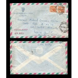 E)1965 ITALY, HOTEL EXCELSIOR, ITALIAN REPUBLIC POST, STRIP OF 2, AIR MAIL, CIRC