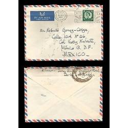E)1960 GREAT BRITAIN, QUEEN ELIZABETH II, 307 A132, AIR MAIL, CIRCULATED COVER T