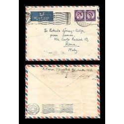 E)1965 GREAT BRITAIN, QUEEN ELIZABETH, 297 A127, STRIP OF 2, AIR MAIL, CIRCULATE