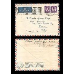 E)1965 GREAT BRITAIN, QUEEN ELIZABETH, 297 A127, STRIP OF 2, AIR MAIL, CIRCULATE