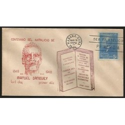 B)1949 CARIBBEAN, LAWYER, JOURNALIST, MANUEL SANGUILY Y GARRITY, 5C, BLUE, CEN