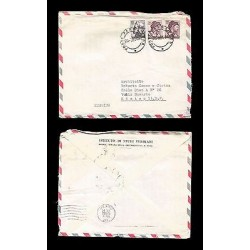 E)1965 ITALY, POSTE ITALIANE, PAIR OF 3, AIR MAIL, CIRCULATED COVER TO MEXICO