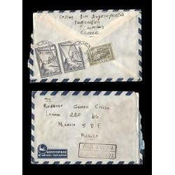 E)1952 GREECE, WOMAN STRIP OF 2, LANDSCAPE, CITY, CIRCULATED COVER TO MEXICO